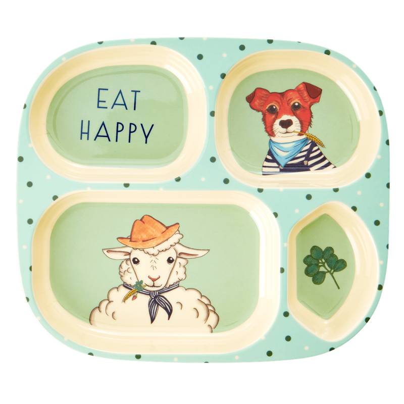 Kids farm animal dinner set (green)