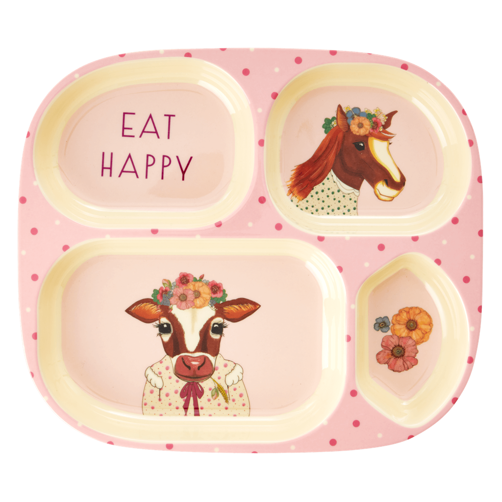 Kids farm animal melamine dinner set (pink)