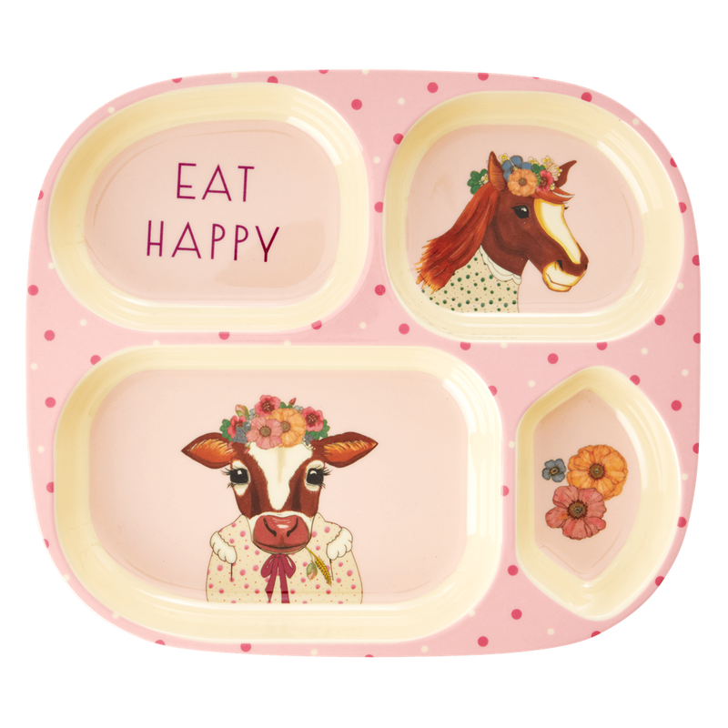 Kids Animal Farm  4-room melamine plate (pink)