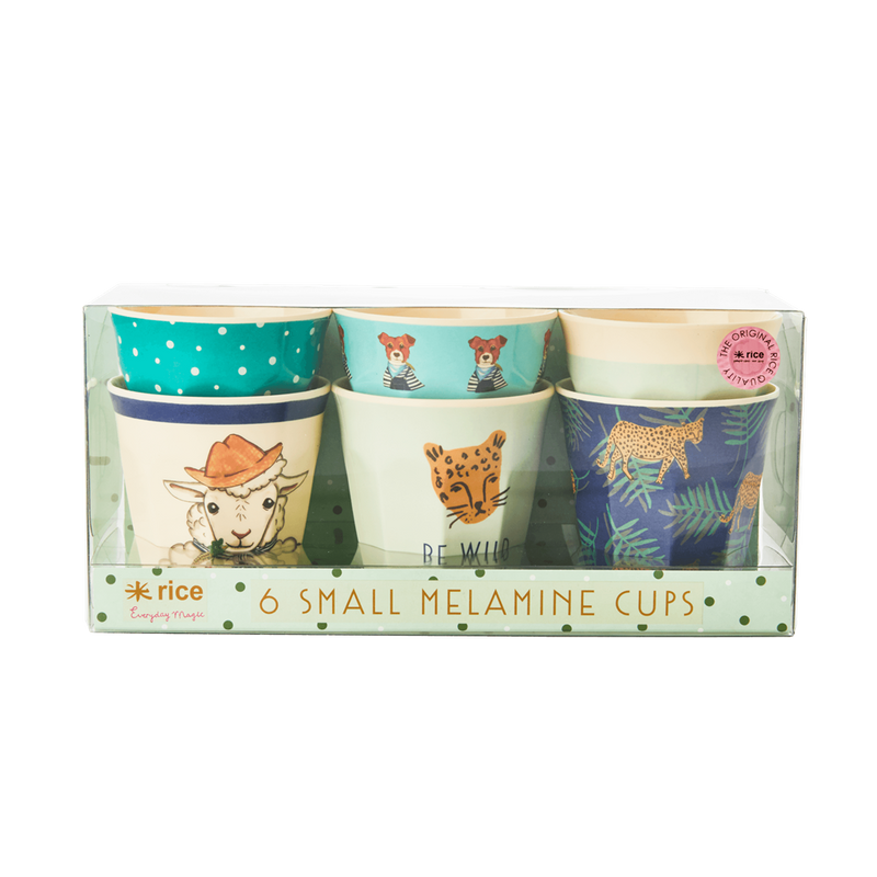 Set of 6 Green Animal melamine cups (small)