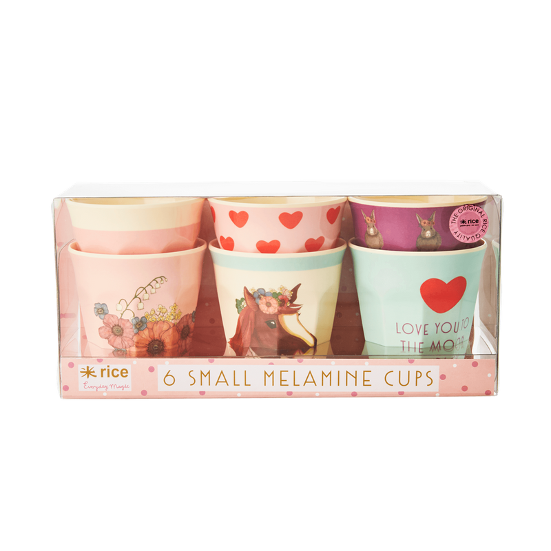 Set of 6 Pink Animal melamine cups (small) SALE Box slightly damaged