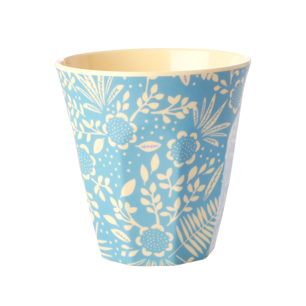 Blue fern & flower melamine cup (medium)