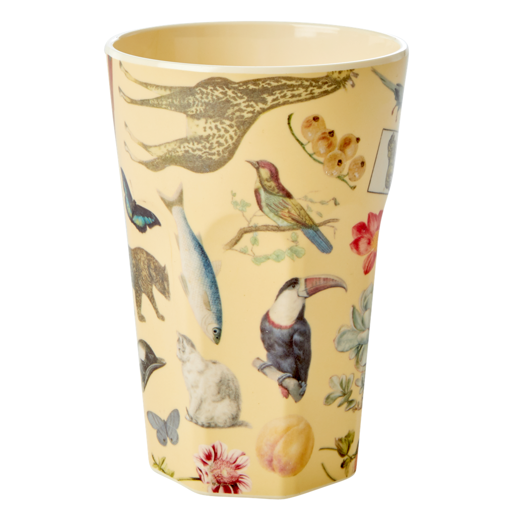 Art Print in Creme melamine cup (tall)