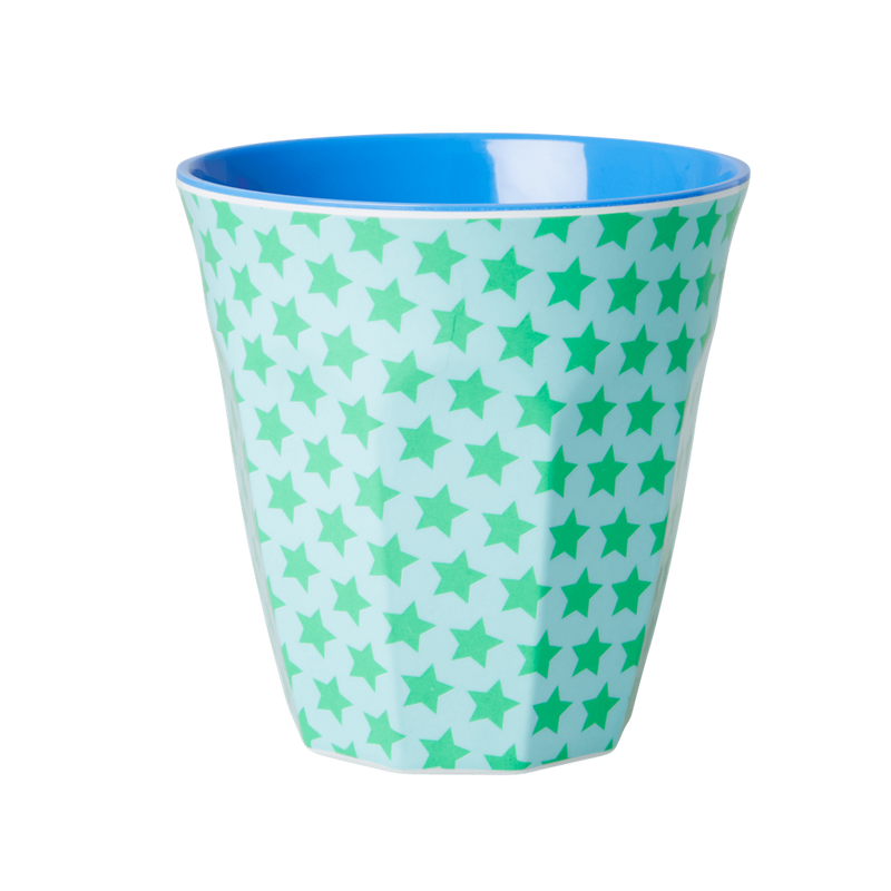 Green & turquoise star melamine cup (medium)