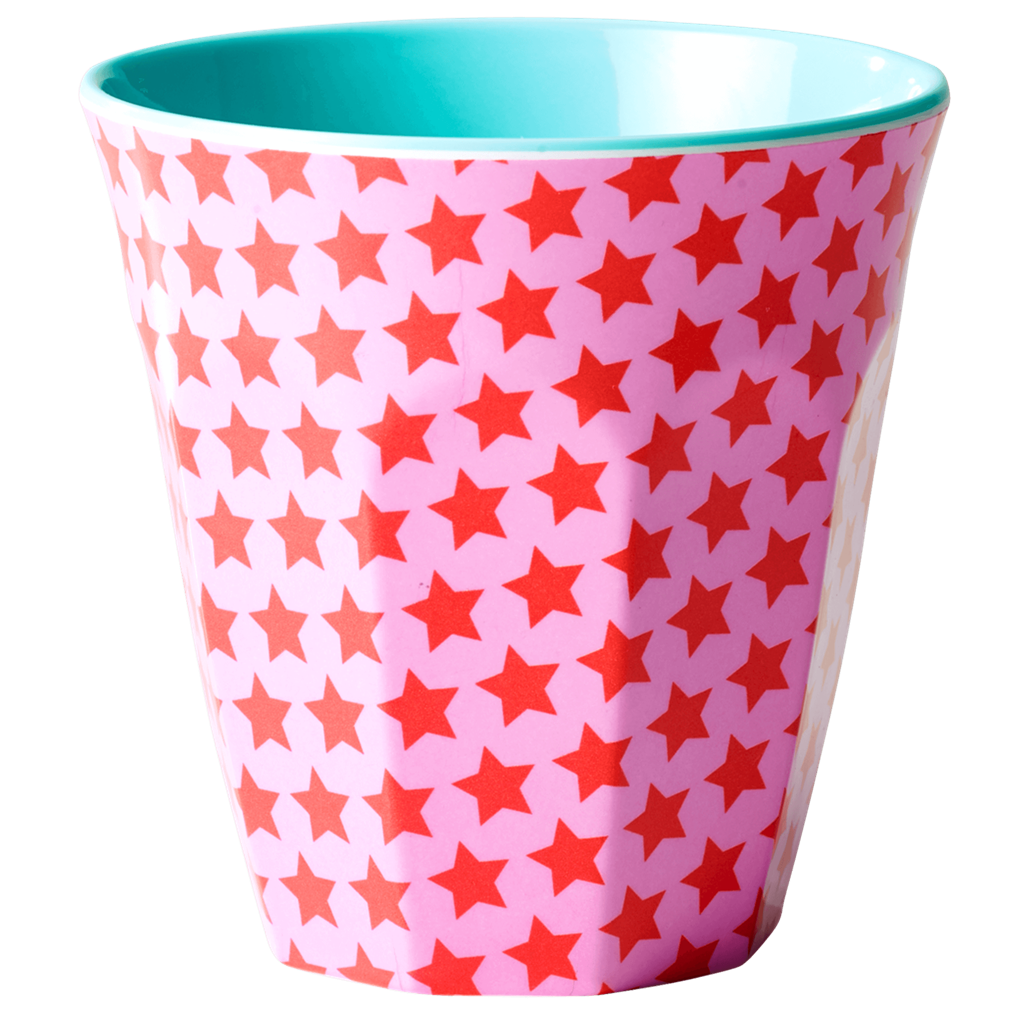 Pink & red star melamine cup (medium)