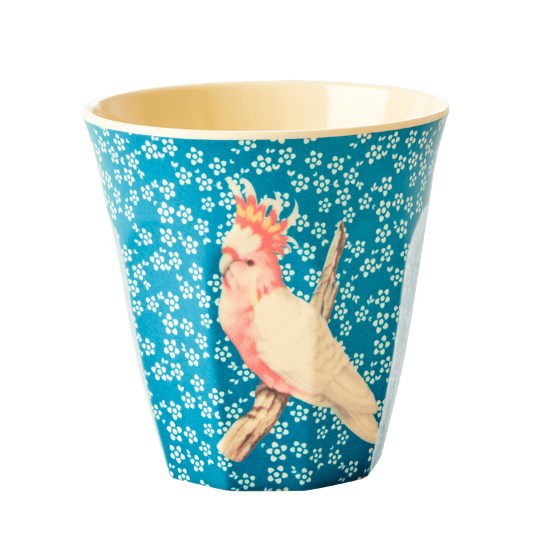 Vintage bird blue melamine cup (medium)