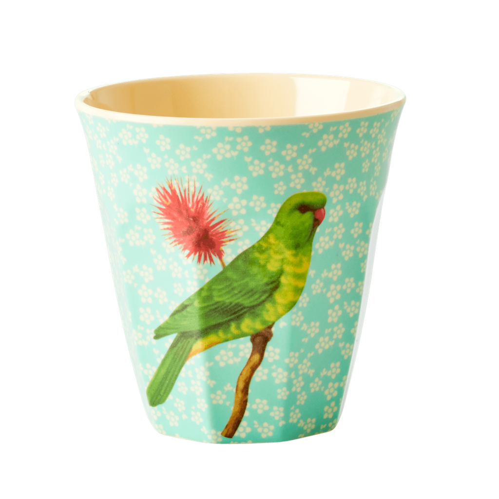 Vintage bird Green melamine cup (medium)