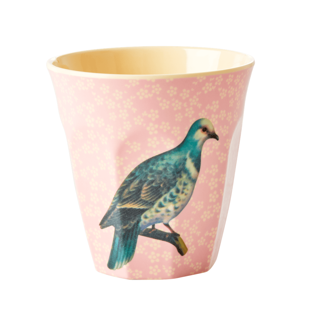 Vintage bird Soft Pink melamine cup (medium)