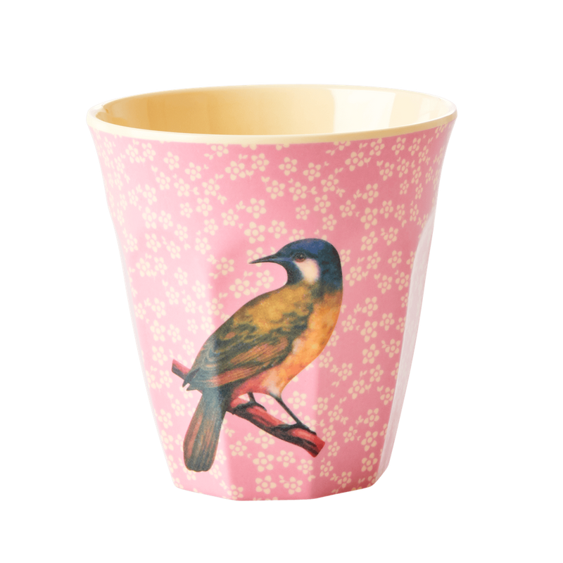 Vintage bird Pink melamine cup (medium)