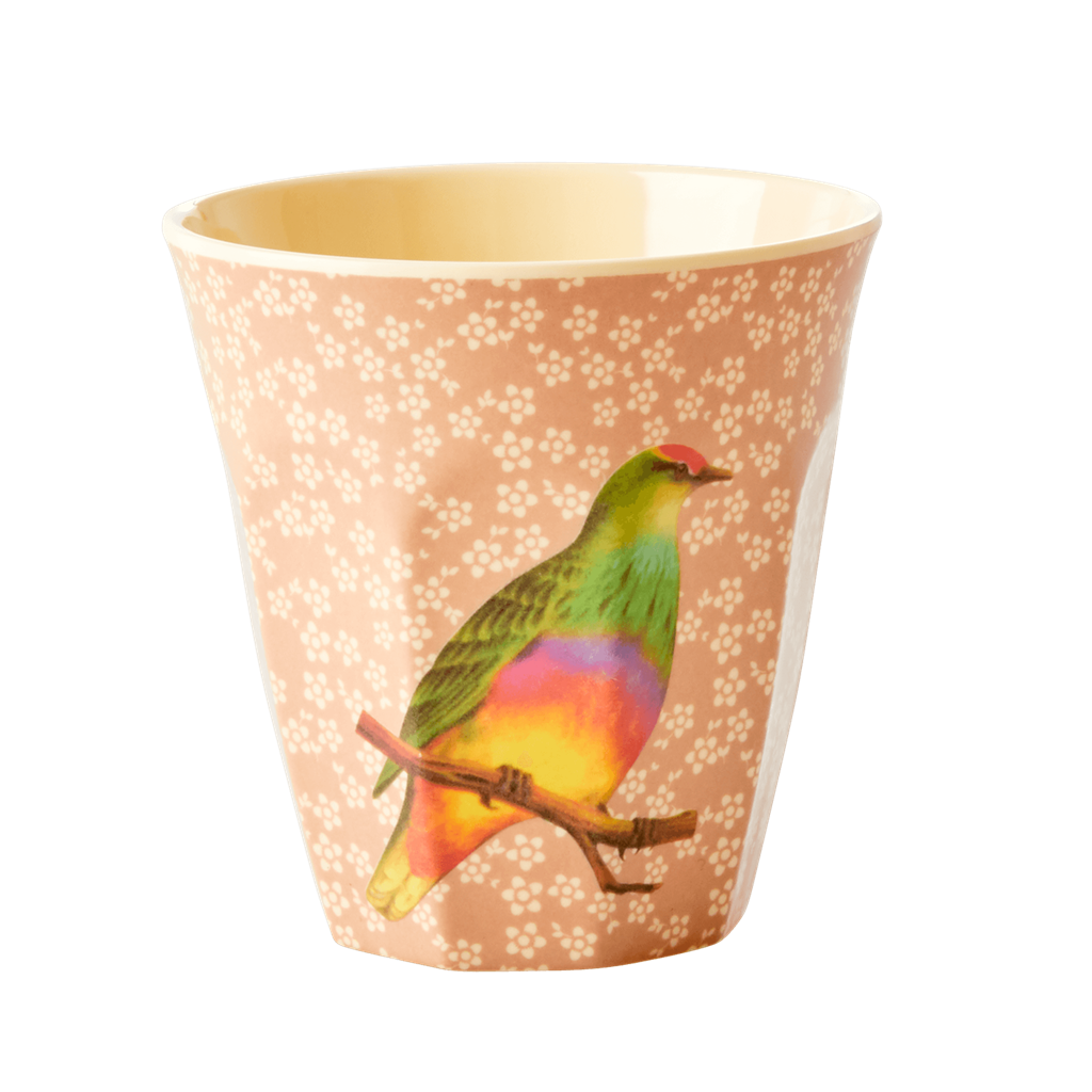Vintage bird Nougat melamine cup (medium)