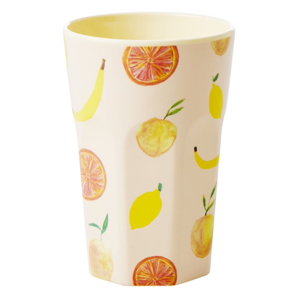 Melamine cup Happy Fruits Print Tall