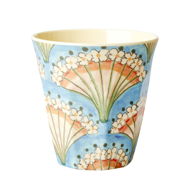 Melamine Cup Flower Fan Print Medium
