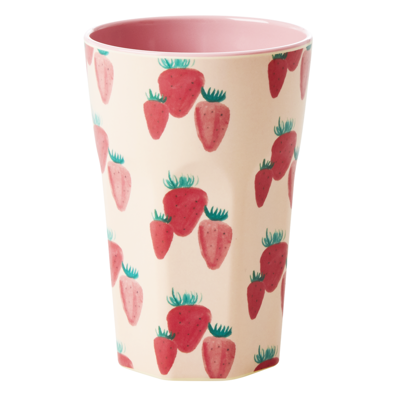 Melamine cup Strawberry Print Tall
