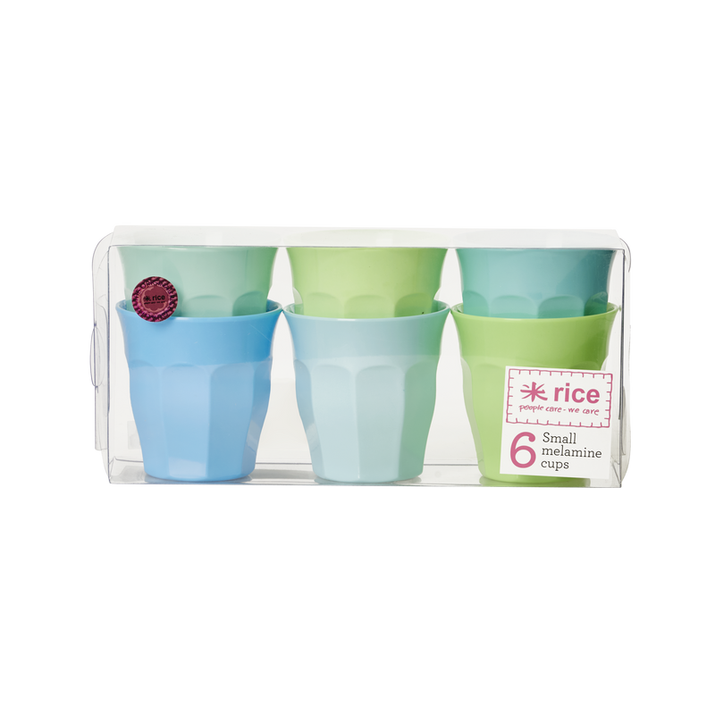 Melamine cups in assorted colours Blue Green Small