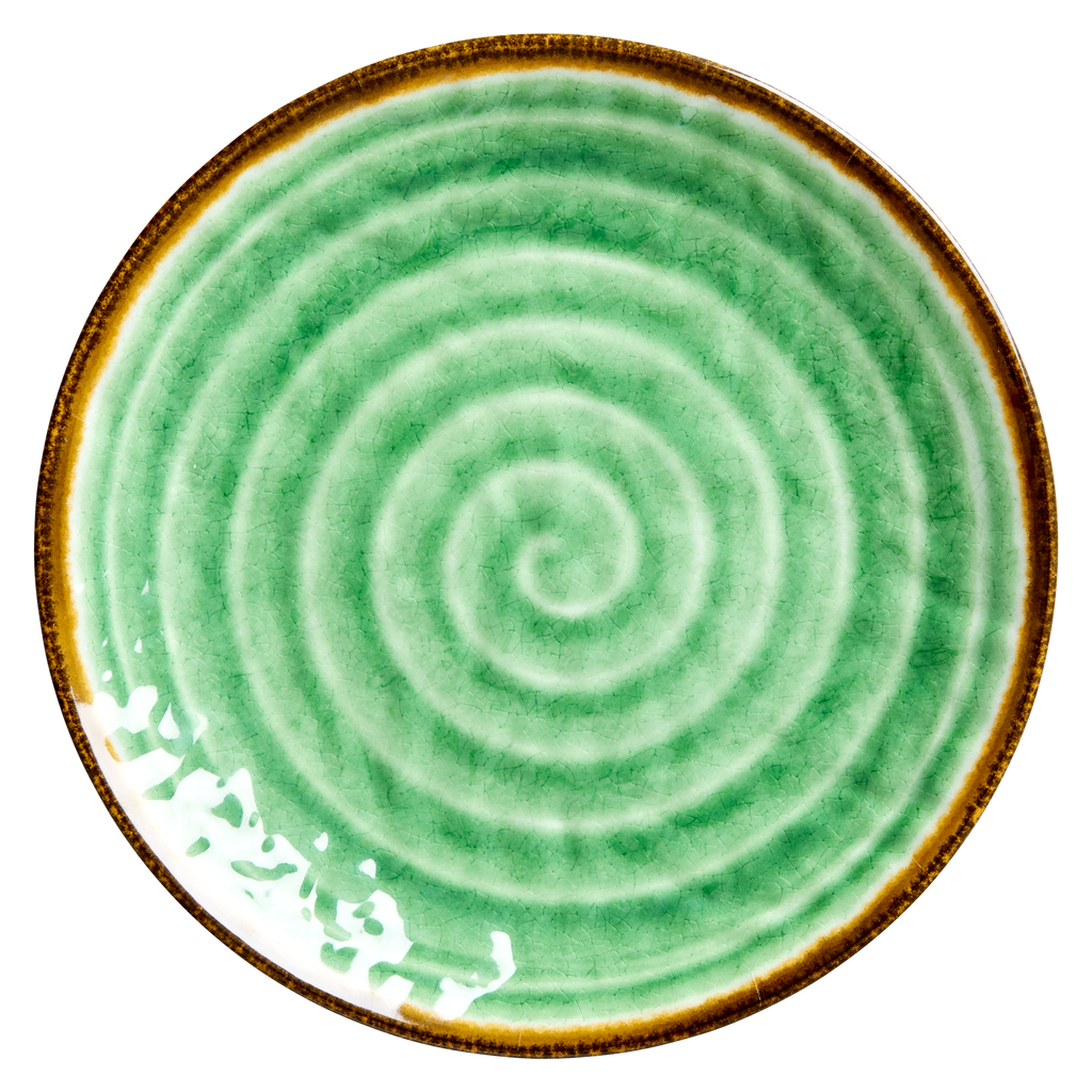 Melamine side plate Swirl Green