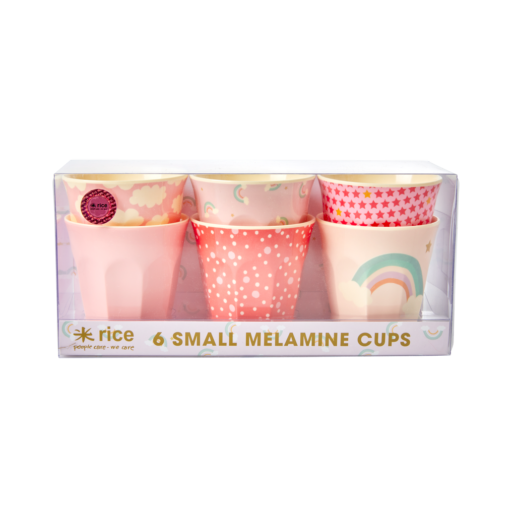 6 Assorted Rainbow kids melamine cups (small)