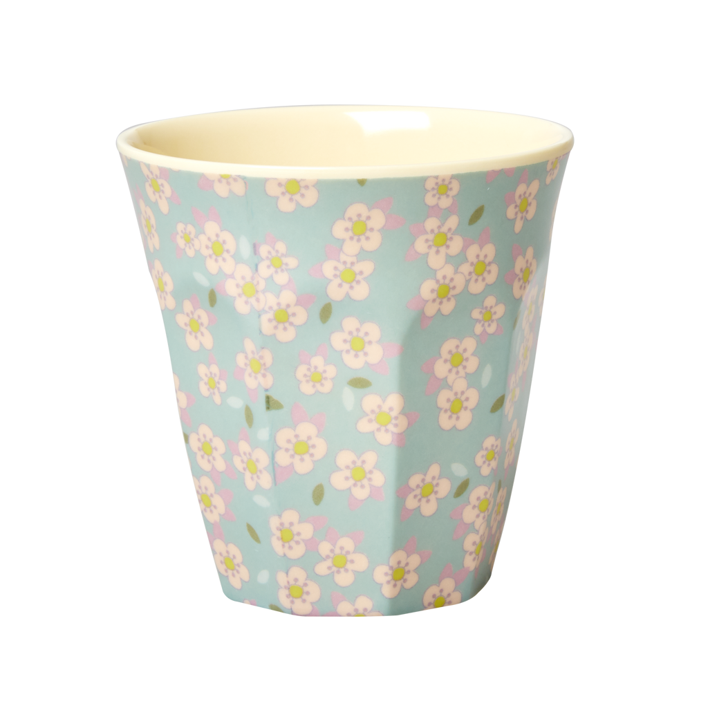 Melamine cup Small Flower Print, Blue Medium