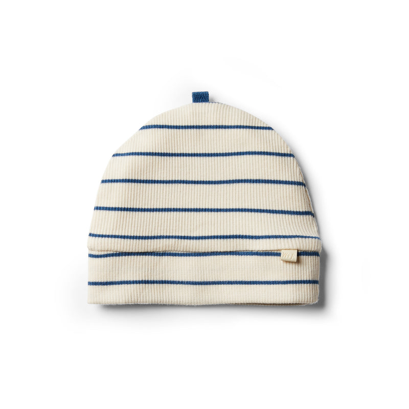 Organic Deep Blue Stripe Beanie - Wilson and Frenchy