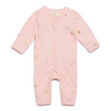 PINK STAR BRIGHT LONG SLEEVE GROWSUIT-GROWSUIT-Wilson and Frenchy