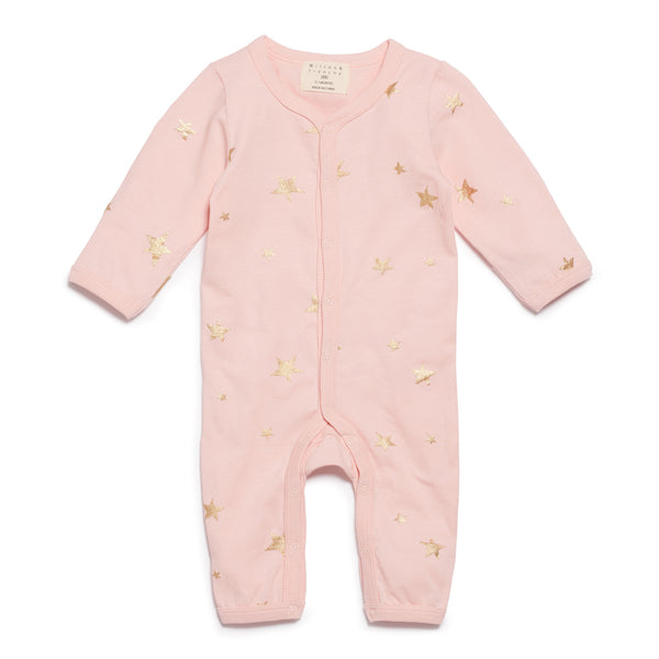 PINK STAR BRIGHT LONG SLEEVE GROWSUIT