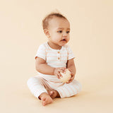 Organic Peach Pearl Stripe Growsuit