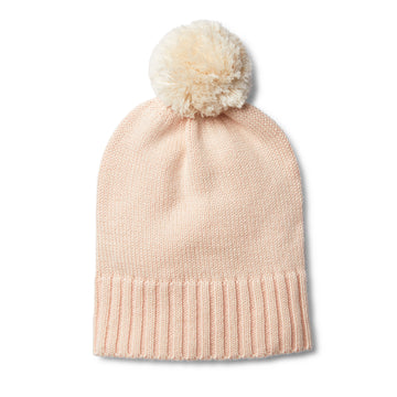 PEACHY PINK KNITTED HAT WITH POM POM - Wilson and Frenchy