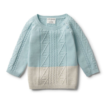 SEAFOAM DIPPED CABLE KNIT JUMPER