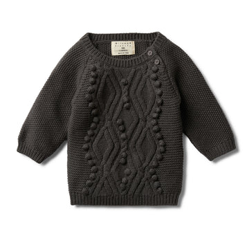 DARK MOON CABLE KNITTED POM POM JUMPER-KNITTED JUMPER-Wilson and Frenchy