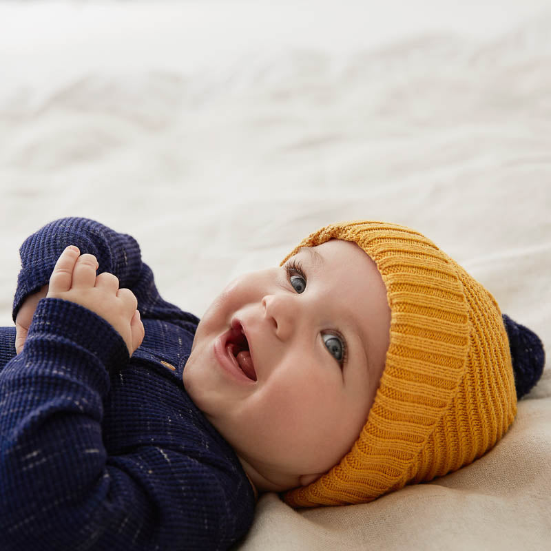 Golden Apricot Knitted Chevron Hat
