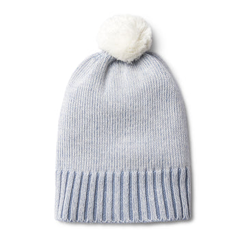 DUSTY BLUE KNITTED HAT WITH POM POM - Wilson and Frenchy