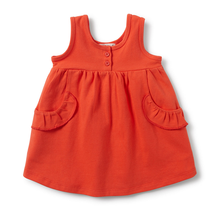 HOT CORAL RUFFLE POCKET DRESS - Wilson and Frenchy