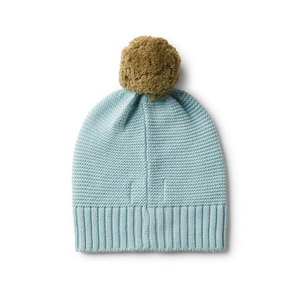 SEAFOAM CABLE KNIT HAT WITH POM POM - Wilson and Frenchy