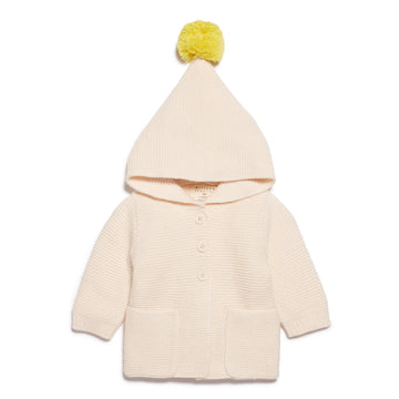 OATMEAL KNITTED JACKET WITH HOOD-KNITTED JACKET-Wilson and Frenchy