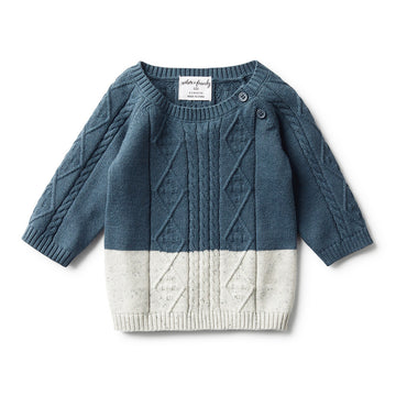 STEEL BLUE DIPPED CABLE KNIT JUMPER
