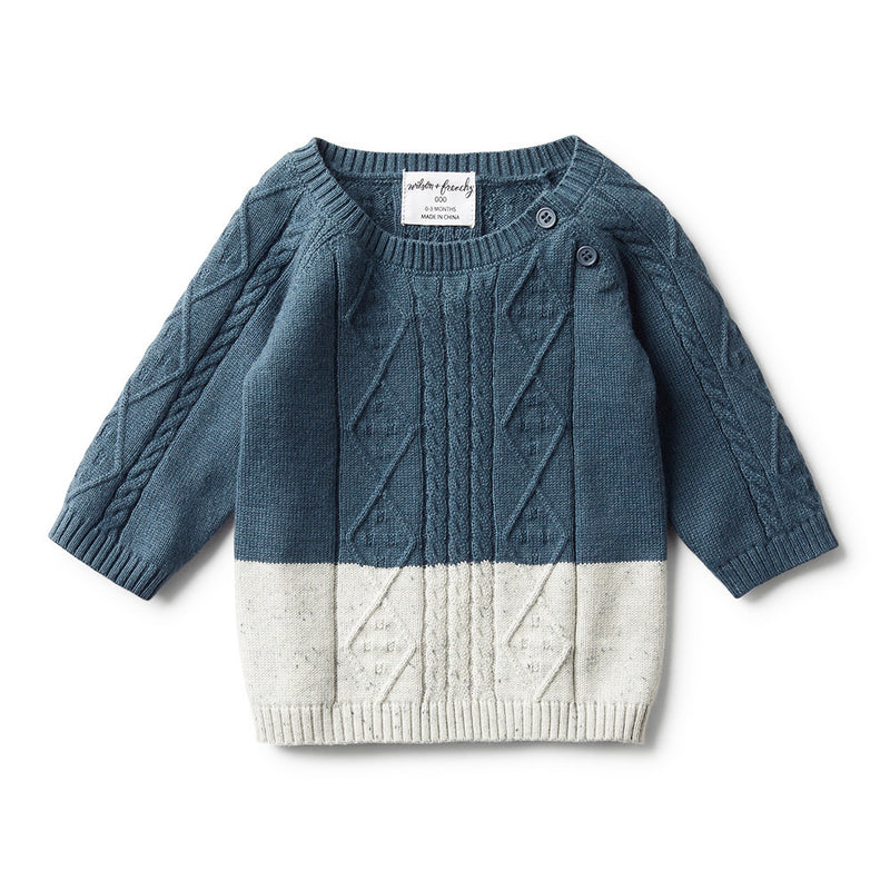 STEEL BLUE DIPPED CABLE KNIT JUMPER - Wilson and Frenchy