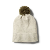 OLIVE SPECKLE KNITTED HAT WITH POM POM - Wilson and Frenchy