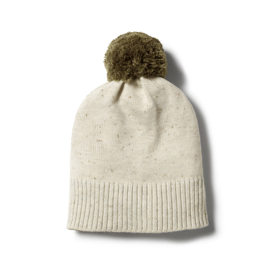 OLIVE SPECKLE KNITTED HAT WITH POM POM