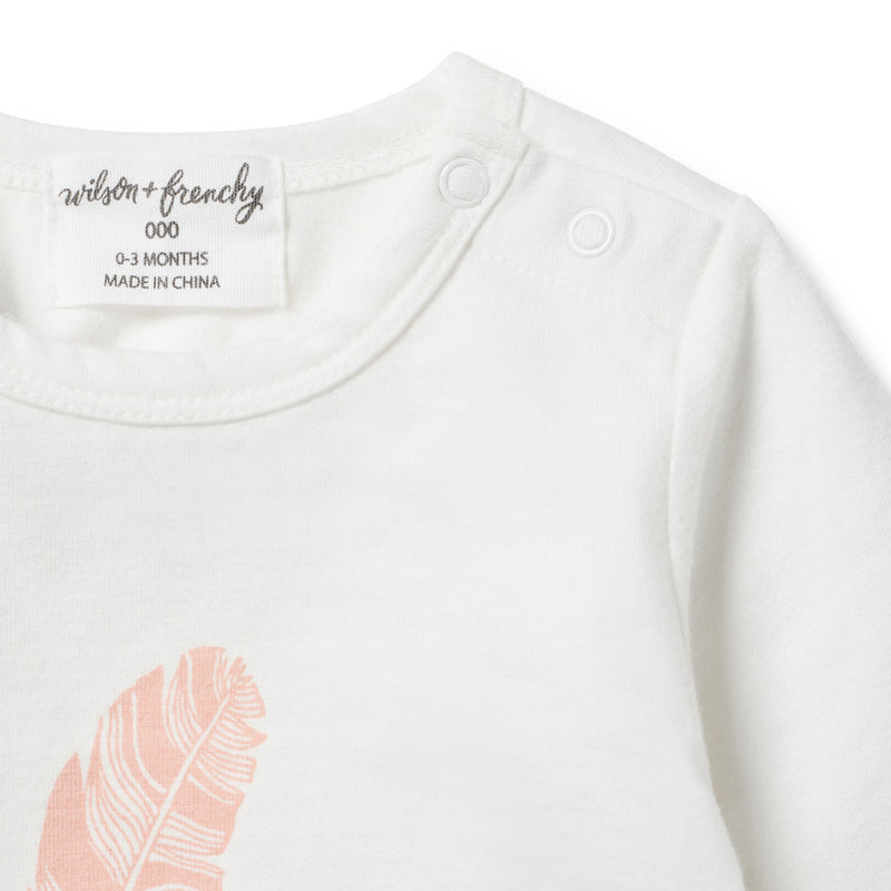 ORGANIC STRAWBERRY FEATHER LONG SLEEVE TOP - Wilson and Frenchy