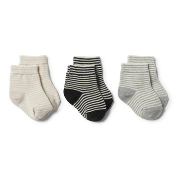 ASH, GREY,EGGSHELL - 3 PACK BABY SOCKS - Wilson and Frenchy