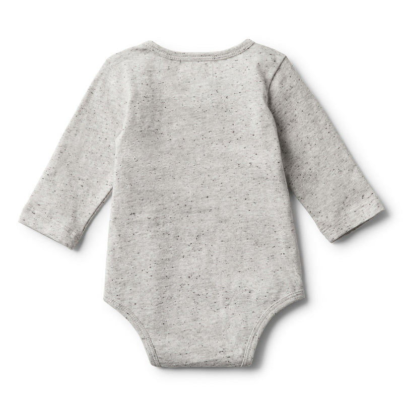 MELANGE FEATHER LONG SLEEVE BODYSUIT - Wilson and Frenchy