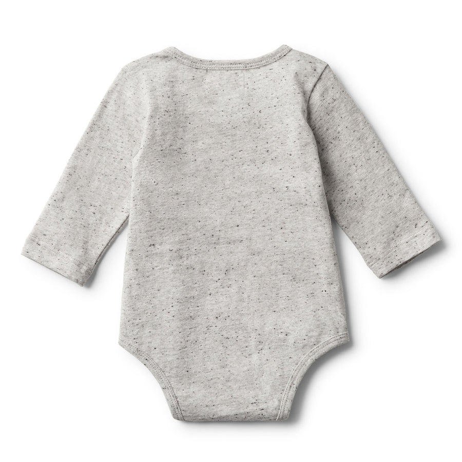 MELANGE FEATHER LONG SLEEVE BODYSUIT