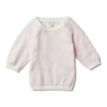 PRETTY PINK STRIPE KNITTED JUMPER-KNITTED JUMPER-Wilson and Frenchy