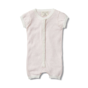 PRETTY PINK STRIPE KNITTED SHORT SLEEVE GROWSUIT-GROWSUIT-Wilson and Frenchy