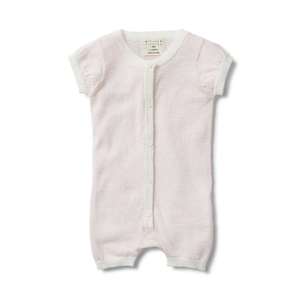 PRETTY PINK STRIPE KNITTED SHORT SLEEVE GROWSUIT