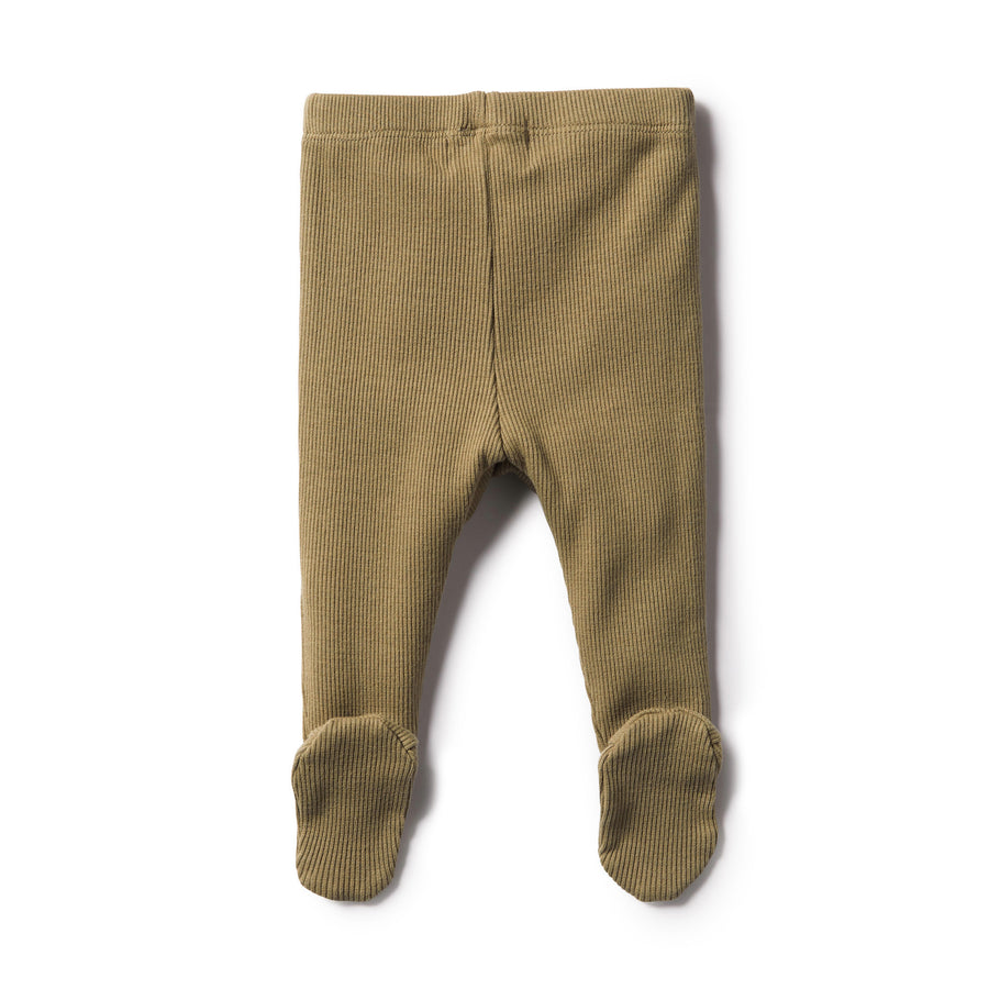 DUSTY OLIVE RIB LEGGING WITH FEET - Wilson and Frenchy