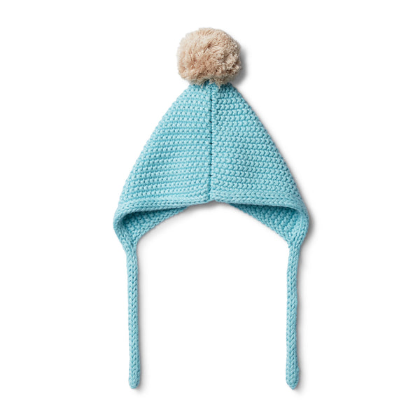 PETIT BLUE KNITTED BONNET - Wilson and Frenchy