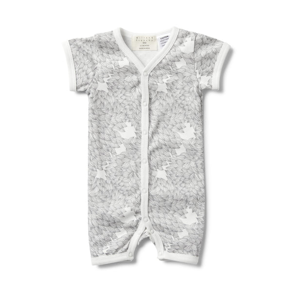 CORAL GARDEN SHORT SLEEVE OPEN FRONT GROWSUIT - Wilson and Frenchy