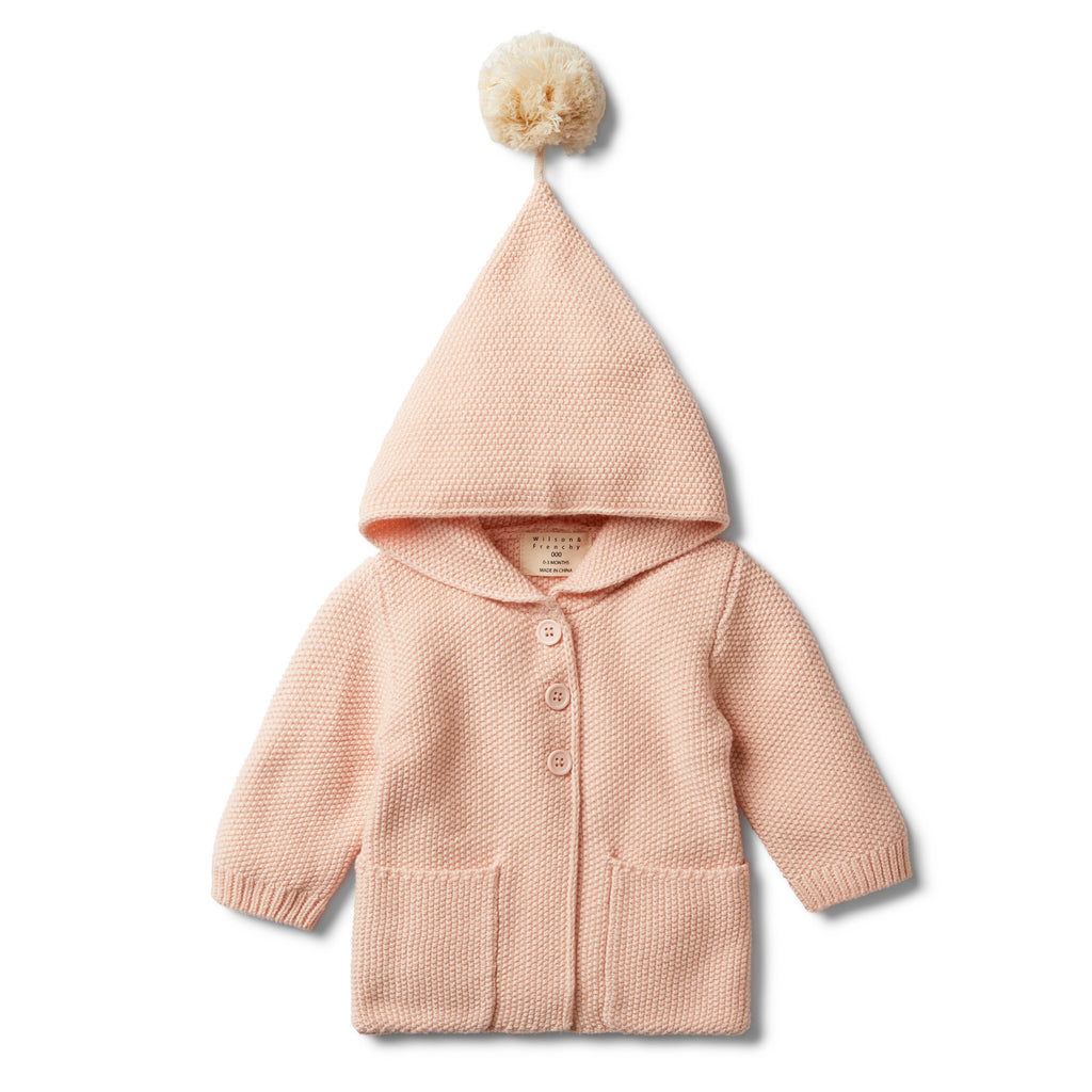 PEACHY PINK HOODED JACKET WITH POM POM - Wilson and Frenchy
