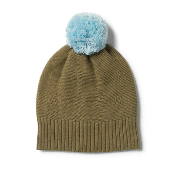 OLIVE KNITTED HAT WITH POM POM - Wilson and Frenchy
