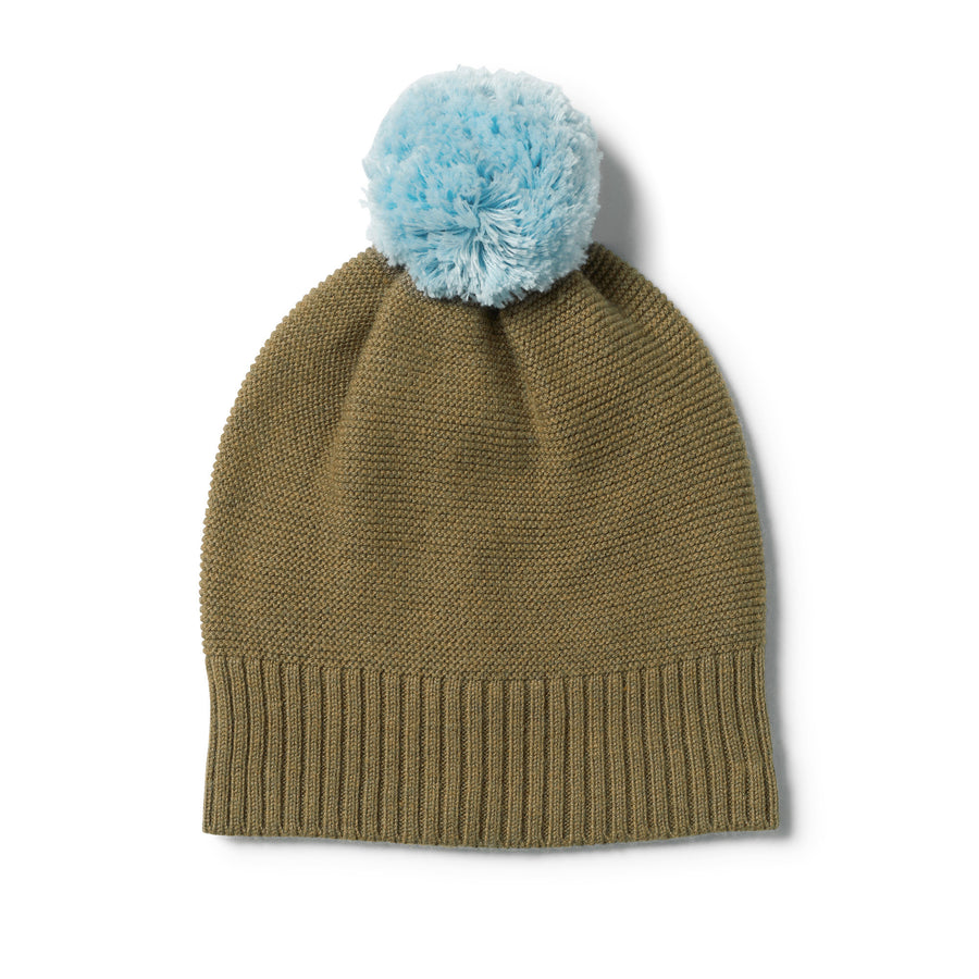 OLIVE KNITTED HAT WITH POM POM